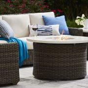 lane venture oasis fire closeup blue patio furniture nj