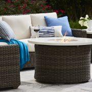 lane venture oasis fire closeup blue patio furniture nj